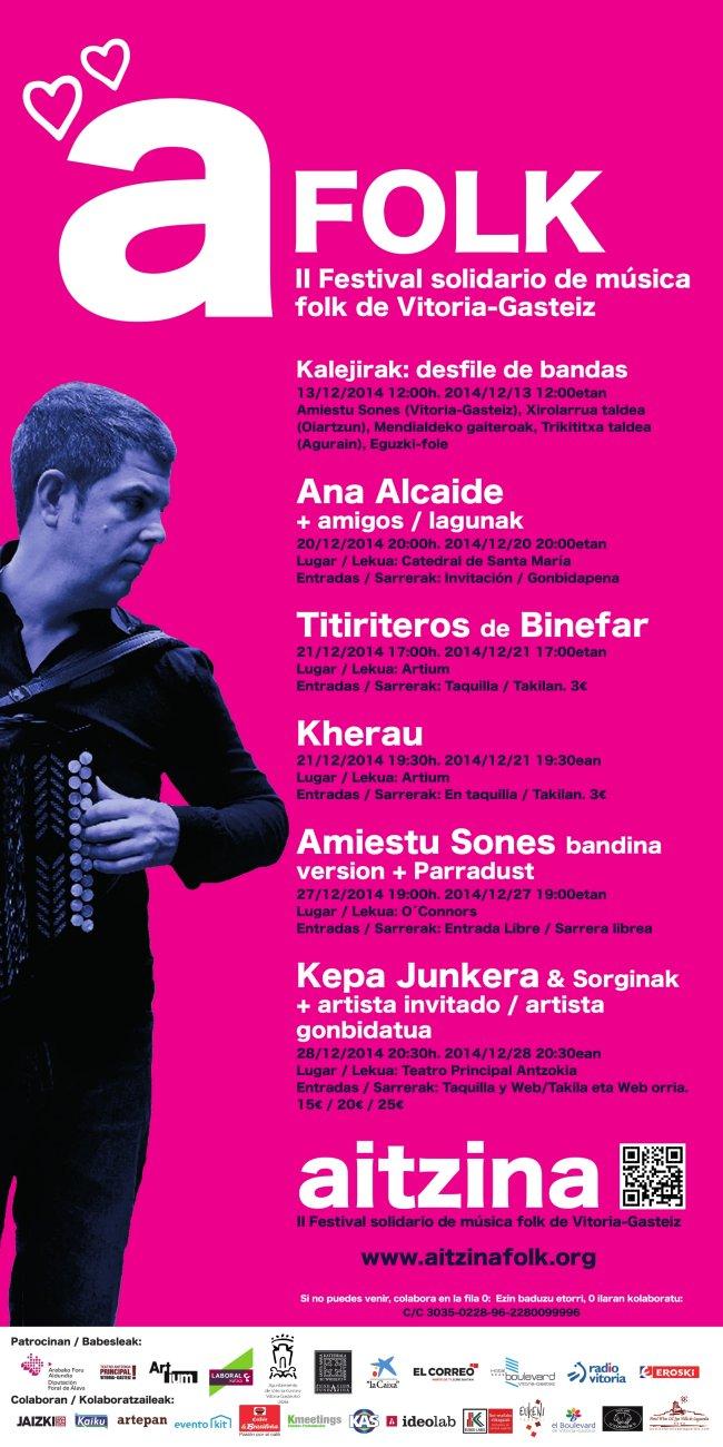 Cartel Aitzina Folk. II Festival solidario de música folk de Vitoria-Gastei